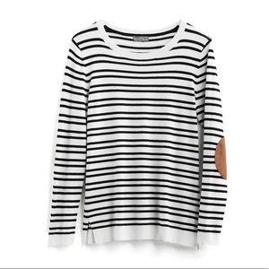 Market & Spruce Aubree Striped Elbow patch sweater
